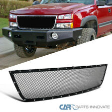Para 05-07 Chevy Silverado 1500 2500HD 3500 Negro Remache de malla superior rejilla movible