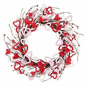 18 Inch Valentine's Day Wreath Wood Heart Shaped Wreath for Wedding Party