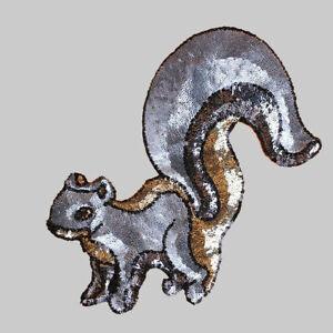 Süß Tier Eichhörnchen Pailletten Patche Bestickt DIY Kleidung Applique Craft