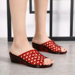 Summer Women Comfort Jelly Slippers Open Toe Low Heel Sandals Hollow Ladies Shoe