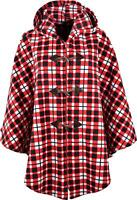 Fleece Hooded Cape Poncho, Checked Pattern, One Size UK 14-32  KK03