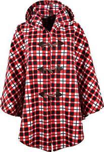 Fleece Hooded Cape Poncho, Checked Pattern, One Size UK 14-32  KK03