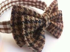 Brown white black Harris tweed bow tie made in Scotland Scottish gift groomsmen