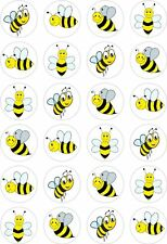 24 Bumble Bee Cupcake Fairy Cake Toppers Edible Rice Wafer Paper Decorations