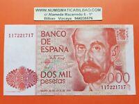 2000 PESETAS 1980 JUAN RAMON JIMENEZ Serie 1I Pick 159 BILLETE SC España UNC