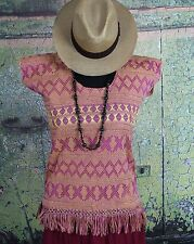 Magenta & Yellow Hand Woven Huipil Backstrap loom San Juan Yaeé Mexico Hippie