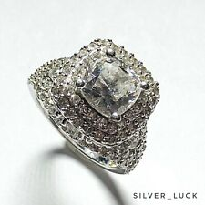 Ladies Very Detailed Silver and Cz Engagement Ring Size 7.25 #3890