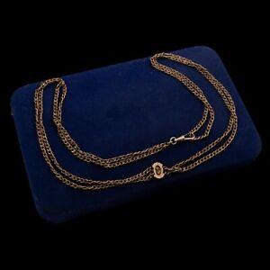 Antique Vintage Art Nouveau 14k Gold Filled GF Paste Slider Fob Necklace 25.3g