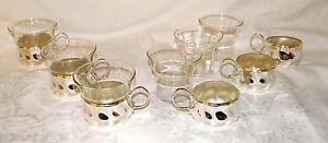 Tassen Teetassen versilbert mit Glaseinsatz 60er Jahre 6 Stück Art Déco