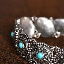 collare boheme lega argentato Vintage Etnico Boho Intagliato Turchese Bead Chain