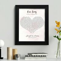 Personalised First Dance Wedding Song Lyrics Heart Print in Frame Wall Art Gift