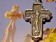 RARE MONKS SILVER HOLY CROSS,CHRIST,JESUS,TRINITY POWER AMULET,CHARM,PENDANT,OMG