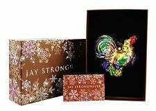JAY STRONGWATER JUBILEE ROOSTER GLASS CHRISTMAS ORNAMENT WITH STAND NEW BOX