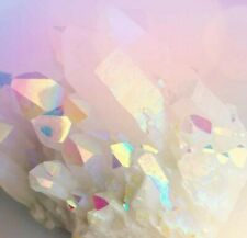 Large Opal aura quartz cluster crystal specimen rainbow healing US Seller