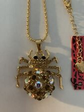 Betsey Johnson Crystal & GOLD MULTI spider charm Sweater chain necklace-BJ84324