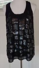 CALVIN KLEIN Sequin Tank Top - Size Medium - Black Geometric LIned Shirt (H)