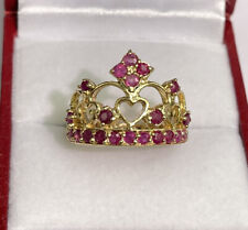 14k Solid Yellow Gold Crown Ring Natural Ruby. Sz 6.5 , 5.35 Grams