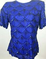 New listing Vintage Stenay Beaded Evening Party Top Blue Scalloped Medium With Tags Gorgeous