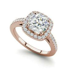 Halo 1.45 Carat VS2/F Cushion Cut Diamond Engagement Ring Rose Gold