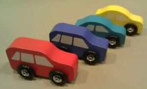 Melissa & Doug 4 Replacement Wooden Cars Plastic Wheels Yellow Blue Red Purple