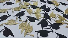 GRADUATION PARTY BLACK & GOLD GLITTER CONFETTI. GRADUATION CAP PARTY DECOR