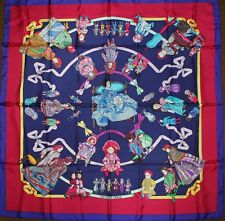 Authentic Hermes HELLO DOLLY Loic Dubigeon Vintage Silk large Scarf  Blue Red