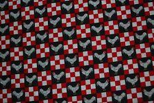 "Cotton fabric, checks & chickens, 45"" x 12 yards, red white & black"