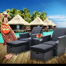 Wicker Lounge Beach Sun Lounge Day Bed Chair Rattan Furniture Patio Pool Chair