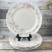 Pfaltzgraff Tea Rose Stoneware Made In The USA Pink Floral Dinner Plates Set 4