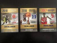 Zion Williamson  Mcdonalds All American Duke Rookie Lot 3 Cards