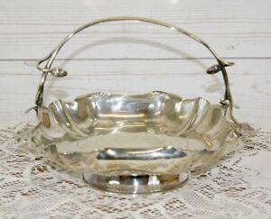 Superb Antique Art Nouveau Square Silver Plate Basket Serving Dish with Handle