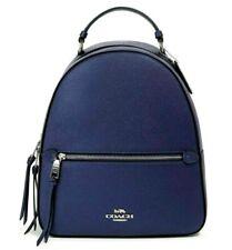 New Coach F84221 Jordyn Backpack in crossgrain Leather Metallic Blue