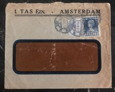 1924 Amsterdam Holland Commercial Window Cover Perfin Stamp