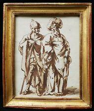 Dessin ancien XVIIIème 18ème siècle lavis plume encre brune soldat clerc tableau