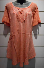 Top Fits XL 1X 2X 3X Plus Soft Orange Sequin V Neck Lace Sleeve A Shape NWT 783