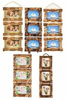 6''x4'' Vintage Shabby Chic Bamboo Wooden 3 Hanging Multi Picture Photo Frame