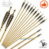 6PCS Archery Hunting Fletching Feather Wood Arrows Field Points Recurve Longbow