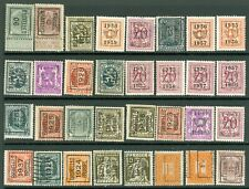 Belgium – Nice selection of Thirty-two (32) Different Precanceled Stamps