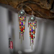 Boucles d`Oreilles Argenté Mini Perle Rouge Jaune Bohême Multicolore Ethnic C1