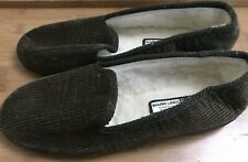 M&S Warm Lined Olive Mens Corded Slipppers Size 10 NEW