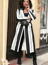 ZARA Black White Long Striped Linen Blend Coat, Size S