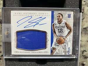2015 Panini KARL ANTHONY TOWNS Rookie Patch Auto 85/99-Nat'l Treasures Kentucky