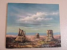 VINTAGE ARTIST SIGNED H GORDON OIL CANVAS DESERT MONUMENT VALLEY ARIZONA 24 x 20