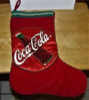 Coca Cola collectible sequin beaded velvet red green Christmas stocking holiday