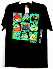New Men's Authentic Angry Birds T-Shirt Black Green S M  XL