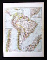 1896 Times Atlas Map - South America Brazil Rio de Janeiro Chile Peru Colombia