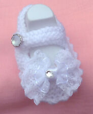 BABY HAND KNITTED CHRISTENING/NAMING DAY/SHOES/BOOTIES/NEWBORN/REBORN//8 CMS