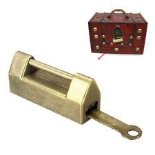 Zinc Metal Chinese Traditional Retro Brass Jewelry Box Padlock Lock + Key Set