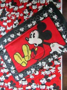 Vintage Classic *Red and Black MICKEY MOUSE* Twin Flat SHEET & PILLOWCASE Set