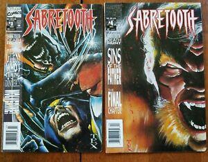 SABERTOOTH #3,#4  MARVEL COMICS  COMIC 2 BOOK LOT